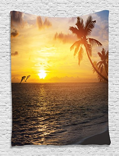 Slate Golden - Ocean Tapestry Dolphins Decor Collection, Palm Trees Tropical Island Beach and Sunset Print, Bedroom Living Kids Girls Boys Room Dorm Accessories Wall Hanging Tapestry, Slate Grey and Golden Orange