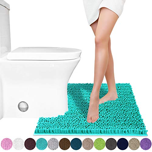 Yimobra Luxury Shaggy Toilet Bath Mat U-Shaped Contour Rugs for Bathroom, Soft and Comfortable, Maximum Absorbent, Dry Quickly, Non-Slip, Machine-Washable, 24.4 X 20.4 Inches, Lake Blue