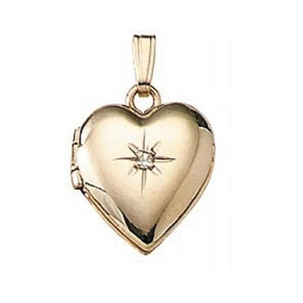 PicturesOnGold.com Solid 14K Yellow Gold Heart Locket with Diamond 1/2 Inch X 1/2 Inch Solid 14K Yellow Gold by PicturesOnGold.com