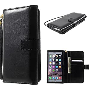 DFV mobile - Crazy Horse PU Leather Wallet Case with Frame Touchable Screen and Card Slots for => XTOUCH X507T > Black