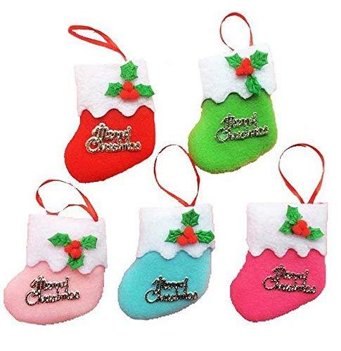 Demana 6X Calcetines de Navidad colgando adornos paño pequeño botas de colgante decoración de árbol de Navidad