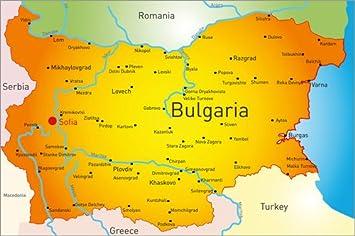 Bulgarien Karte Deutsch.Poster 90 X 60 Cm Bulgarien Landkarte Von Editors Choice
