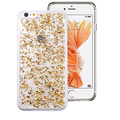 iPhone 6/6S Case, [Transparent TPU Rubber] Bling Soft Stylish Design with Shiny Sparkling Glitter Stars [Anti-Discoloration, Durable]