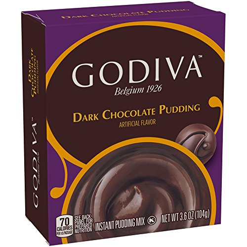 Godiva Dark Chocolate Instant Pudding Mix (3.6 oz Boxes Pack of 14) - Instant Chocolate Pudding