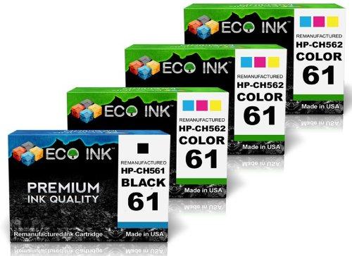 ECO INK © Compatible / Remanufactured for HP 61 CH561WN CH562WN (1 Blk + 3 Clr) Ink Cartridges For Deskjet 1000, 2000 - J210a, 2050 - J510d, 3050 - J610a, 1050, 2000 - J210b, 2050 - J510e, 3050 - J610b, 1050 - J410c, 2000 - J210c, 3000, 3050 - J610c, 1050 - J410b, 2000 - J210d, 3000 - J310a, 3050 - J610d, 1055, 2050, 3000 - J310c, 3050 - J610e, 1055 - J410e, 2050A - J510a, 3050, 3050 - J610f, 2000, 2050 - J510a, 3050A - J611g