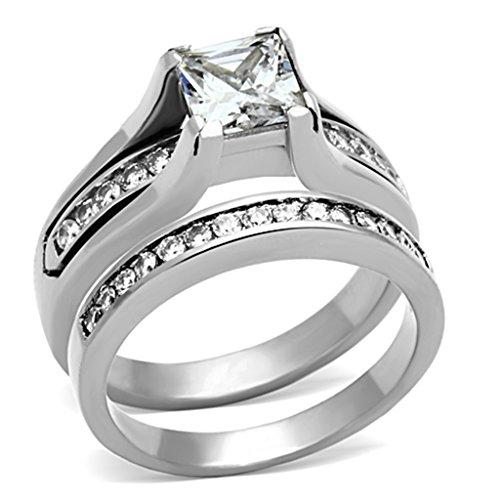 Jude Jewelers Princess Cut Wedding Engagement Propose Ring Set Bridal Halo Anniversary (Silver, (Princess Cut Cocktail Ring)