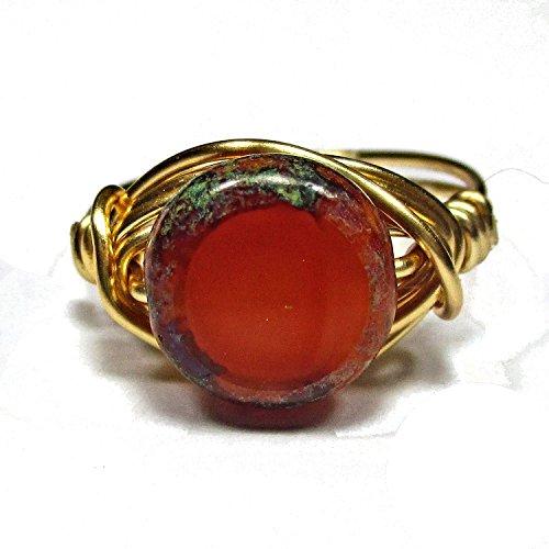 Stunning Czech Art Glass Tuscan Sun Artisan Gold Tone Wire Wrap Ring All Sizes