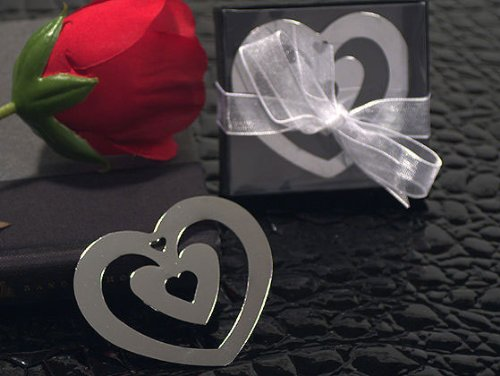 (Double Heart Shaped Chrome Metal Bookmarks With Heart Cut Out)