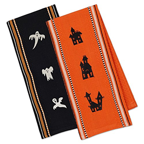 DII Cotton Embroidered Halloween Dish Towels, 18x28 Set of 2, Decorative Oversized Kitchen Towels,  Perfect Home and Kitchen Gift-Spooks