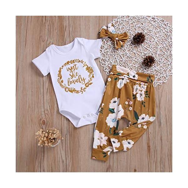 3 PCS Bambina Completini e Coordinati Neonata Top + Pantaloni + Headband Prima Infanzia Abbigliamento 2