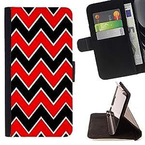 Jordan Colourful Shop - FOR Sony Xperia Z1 L39 - Red and black big waves - Leather Case Absorci¨®n cubierta de la caja de alto impacto