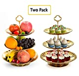 3 tiered cake stand - Two Set of Three Tier Cake Stand and Fruit Plate by Imillet -Stainless Steel Stand of Golden for Cakes Desserts Fruits Candy Buffet Stand for Wedding &Home&Party Serving Platter (2 pack)