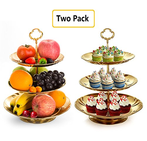 Two Set of Three Tier Cake Stand and Fruit Plate by Imillet -Stainless Steel Stand of Golden for Cakes Desserts Fruits Candy Buffet Stand for Wedding &Home&Party Serving Platter (2 (Three Tier Serving Stand)