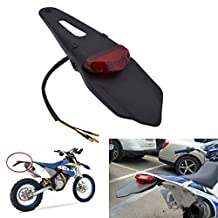 KaTur Rear Fender LED Brake Red Tail Light Lamp with Bracket for Off-road Motorcycle Motocross Dirt Bike (Red Lens)
