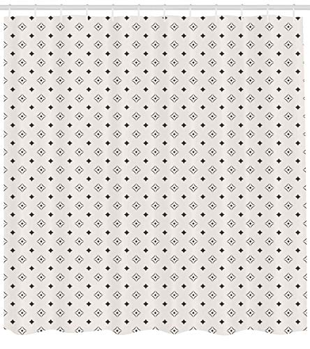 luckyhome Geometric Shower Curtain, Old Fashioned Wallpaper Design with Floral Like Geometrical Icons Art, Fabric Bathroom Decor Set with Hooks, 72Inches, Charcoal Grey Beige