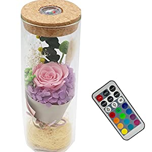 sexyrobot Glowing Preserved Red Rose in a Glass, RGB Preserved Fresh Flower Glowing Colorful with Remote Control as Wedding Christmas Mother's Day Creative Gifts 20