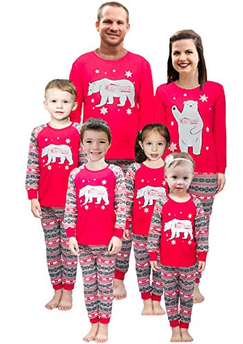 Little Pajamas Holiday Family Matching Fleece Bear Plaid Pajama PJ Sets Women M