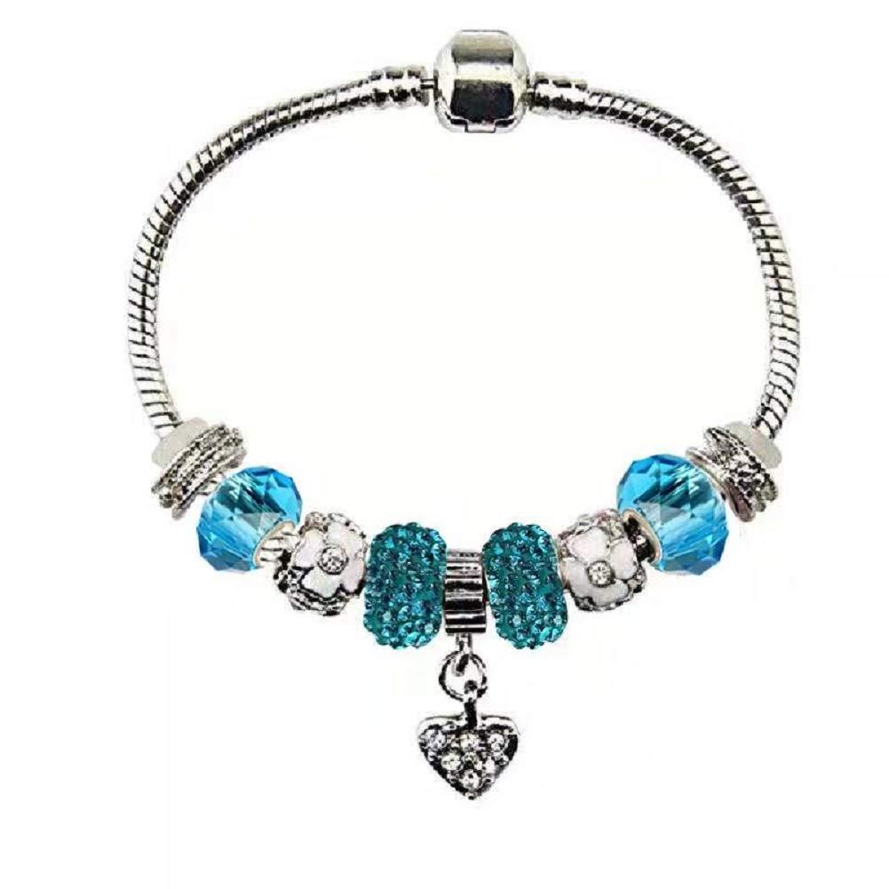 5e09b2983 Amazon.com: White Birch Charm Bracelet for Women Maroon Red Fit Pandora 7.1  inch DIY High Shine January Birthstone Heart: Jewelry