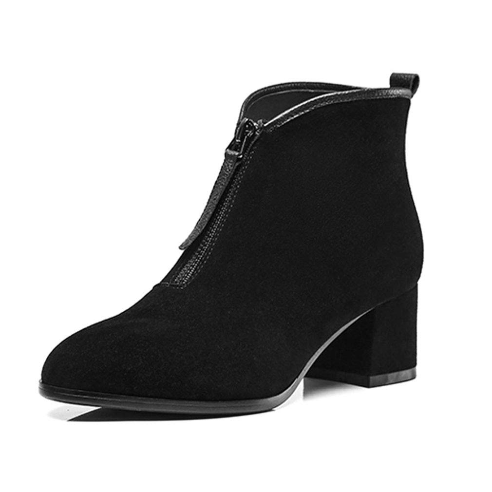 A Women's shoes Suede Fall Winter Bootie Fashion Boots Boots Chunky Heel Closed Toe Pointed Toe Booties Ankle Boots (color   A, Size   38)