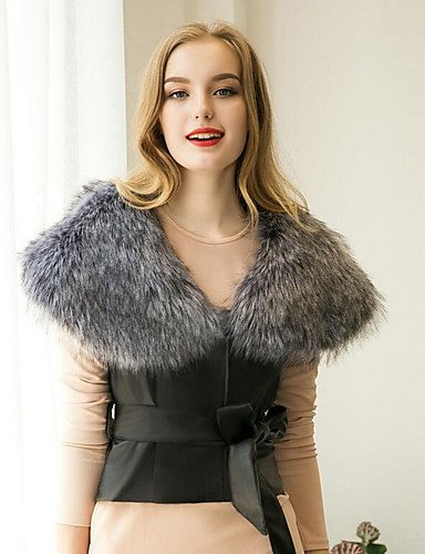 YRF Casual Sleeveless Fur m Thick Winter Fall CoatSolid Street chic Faux Fur Vest Neck Women's Round PU Fur Daily 44rqF5