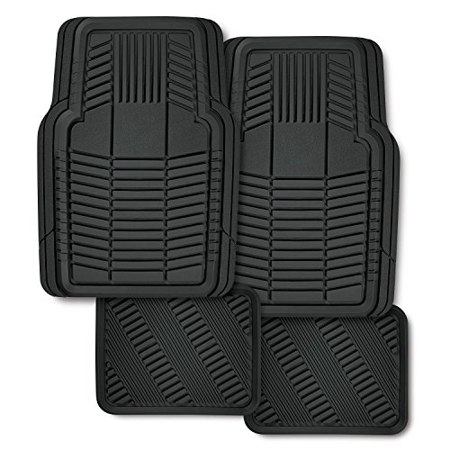 Kraco 4-Piece Floor Armor Premium Rubber Floormat. Heavy Duty Rubber Mat that provides Quality Protection. Trimmable for a Custom Fit to your Car, SUV, any Vehicle. Keep Dirt & Debris off the Carpet.