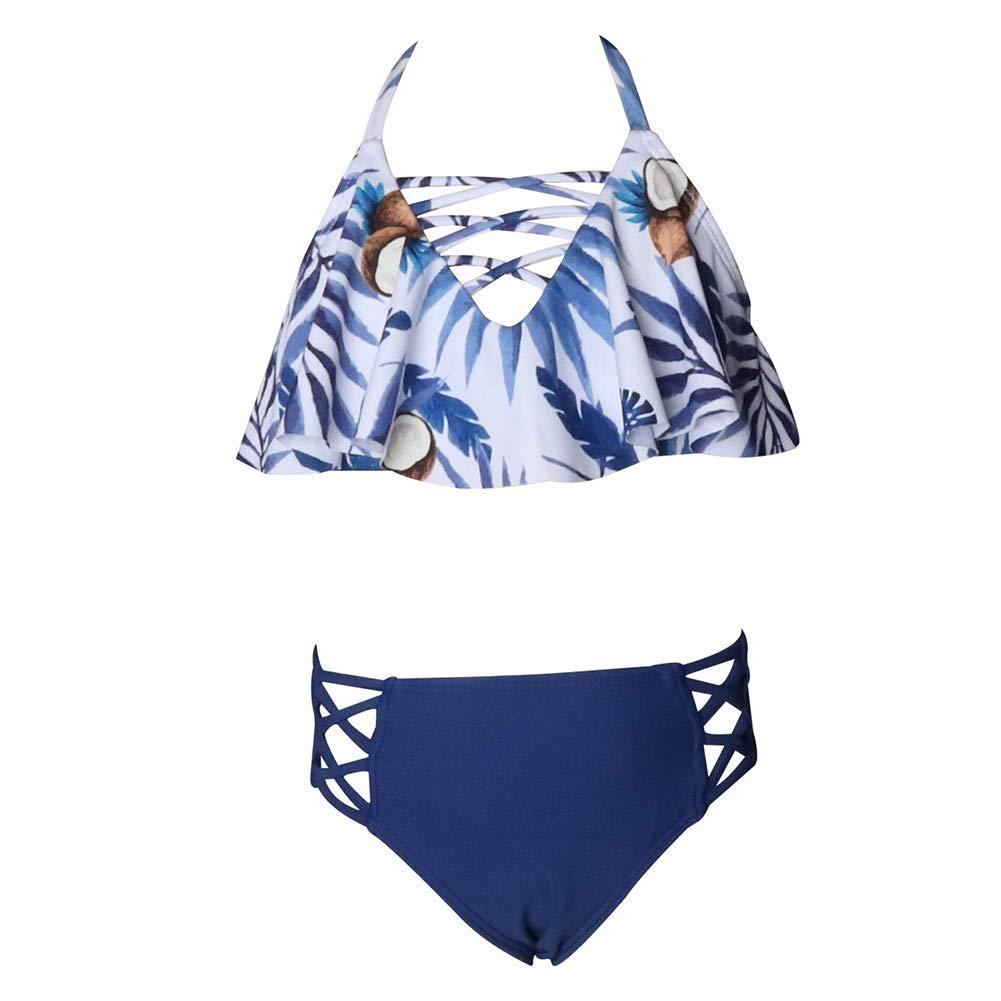 Xinvivion Madre Hija Floral Impreso Bikini a Juego Diadema Traje De Ba/ño Traje De Ba/ño De La Familia Ropa De Playa De Verano Dos Piezas Traje De Ba/ño Retro