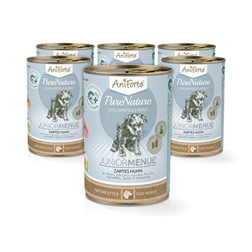 AniForte® PureNature Zartes Huhn Junior 400g Hundefutter- Naturprodukt für Hunde und Welpen (6x400g)