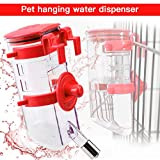 Yitour Dog Crate Drinking Water Bottle -Reusable Clip On Pet Dog Water Dispenser Bottle Large/Big/Small Dog/Guinea Pig/Rabbit,No Drip Hanging Auto Puppy Crate Kennel Water Bottle (Red)
