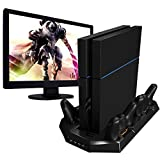 PS4 Vertical Stand with Cooling Fan Charger PlayStation 4 Console Cooler Dualshock 4 Controllers Charging Station with 4 Charger Ports USB HUB