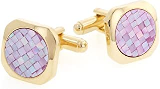 product image for JJ Weston Pink Mosaic Mother of Pearl Cufflinks. Made in The USA.