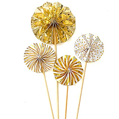 Cupcake Toppers 12-Pack Muffin Decoration Gold Circle Fan Flowers Toppers Fun Cake Topper Picks Mini Birthday Cake Decor for Baby Boys Girls Kids Birthday Party and Wedding Supplies
