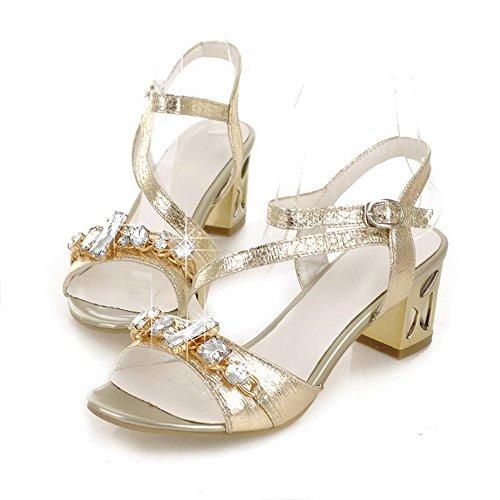 Amoonyfashion Damesschoenen Open Teen Kitten Hak Stevige Hak Pu Lakleer Degelijke Sandalen Met Glas Diamant Goud