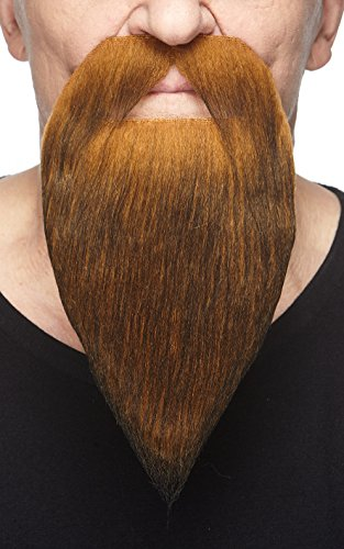 Mustaches Self Adhesive, Novelty, Philosopher Fake Beard, False Facial Hair, Costume Accessory for Adults, Dark Ginger Color -