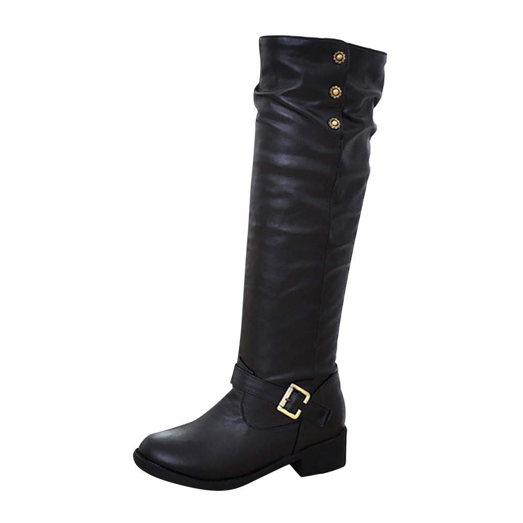 〓COOlCCI〓Women's Knee-High Boots,Women's Zipper and Buckle Knee-High Riding Boot Casual Riding Boot & Wide Calf Shoes Black by COOlCCI_Shoes