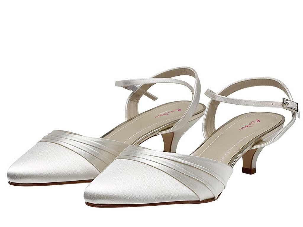 ca1b3e40be2 Rainbow Club Julie - Ivory Satin Slingback Bridal Wedding Shoe with Kitten  Heel  Amazon.co.uk  Shoes   Bags