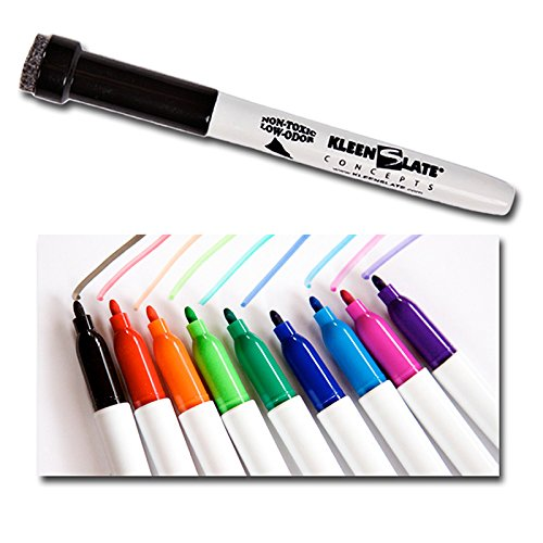 Kleenslate Concepts 10-Pack Multi-Color Dry Markers Eraser Caps School Supplies