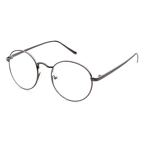 Adewu – Occhiali da lettura unisex, rotondi, stile retrò, montatura sottile in metallo