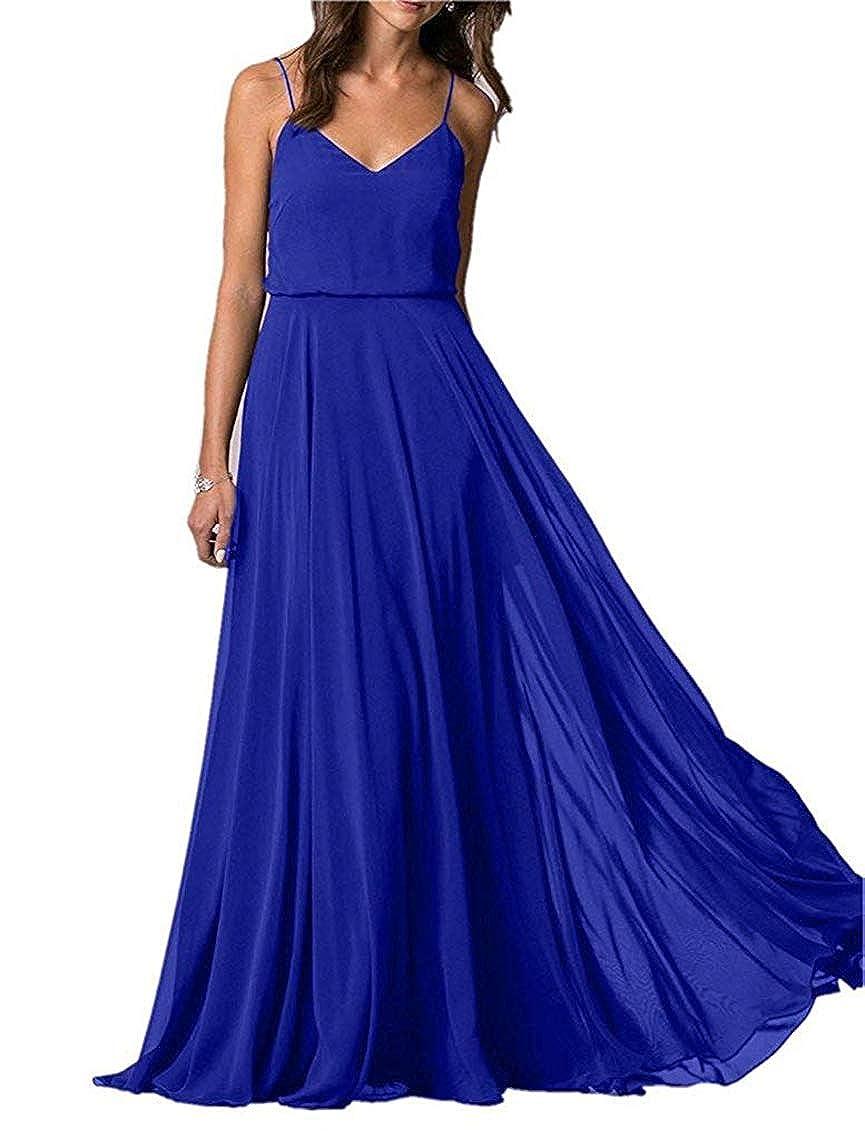 Royal bluee YUSHENGSM Spaghetti Straps VNeck Long Bridesmaid Dress Wedding Beach Prom Skirt