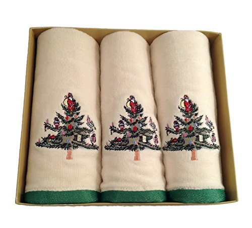(Spode Christmas Tree, Boxed Set of 3 Fingertip Towels)