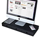 WALLNITURE Flat Panel Monitor Riser Stand Space Saving Workstation and Multi-Purpose Organizer with 3 Drawers in Black