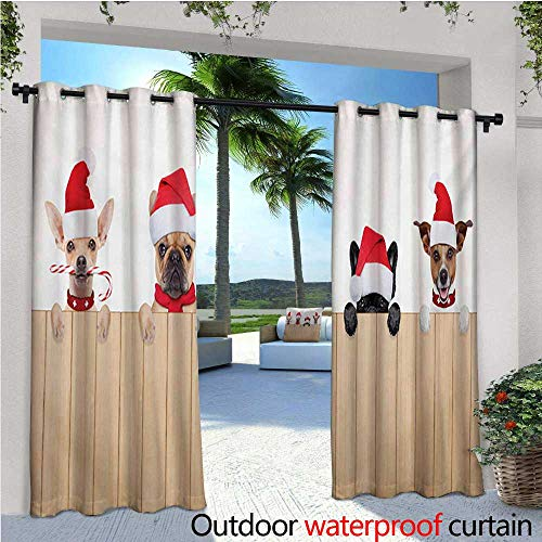 Christmas Outdoor- Free Standing Outdoor Privacy Curtain Group of Santa Claus Dogs Over Wooden Fences Humor Animals Noel Puppies Pet Graphic for Front Porch Covered Patio Gazebo Dock Beach Home W96