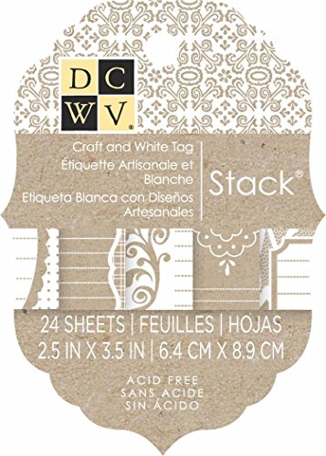 DCWV Printed Tag Stack, 2 by 3-inches, Kraft and White