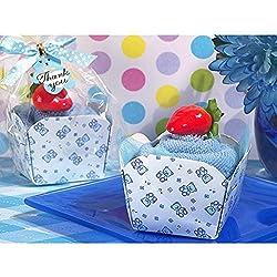 Cupcake Towel Favor Blue Teddy Bear Design