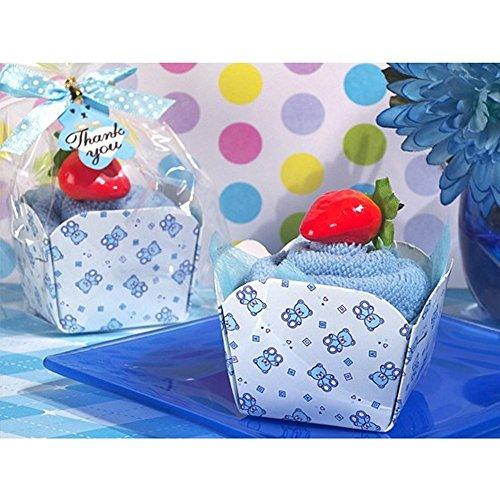 Cupcake Towel Favor Blue Teddy Bear Design - 84 Pieces by Cassiani (Image #1)