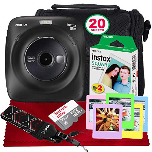 Fujifilm Instax Square SQ20 Hybrid Instant Camera (Black) – Basic Accessory Bundle with 20 Sheets of Instant Film + 16GB Micro sd Card + Case + Xpix Camera Strap and More. (USA Warrantty)