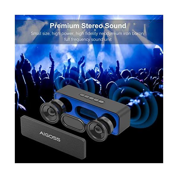 Aigoss Enceinte Bluetooth Portable, Haut-Parleur Bluetooth 5.0 Enceinte Portable Pilote Double Subwoofer Son HD Stéréo Mains Libres, Radio FM Fonction TF Carte Noir 5
