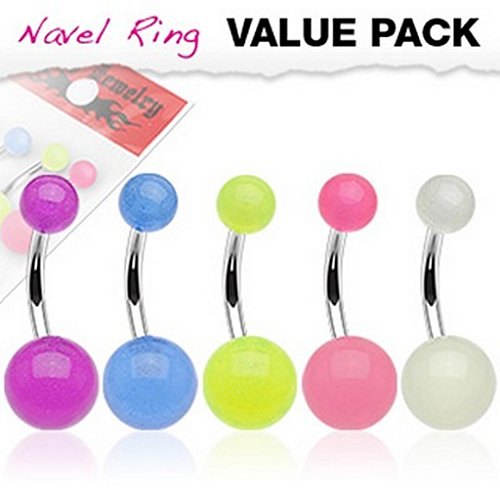 Lot de 5 piercing nombril couleurs assorties avec boules Glow In The Dark en acier chirurgical 316L