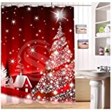 Christmas Bathroom Decor Custom Home Decor christmas decoration background Fabric Modern Shower Curtain European Style bathroom Waterproof