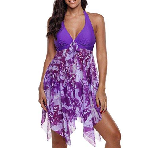 ❤️Jonerytime❤️Women Print Swimwear Tankini Asymmetric Hem Halter Swimdress and Panty Beachwear (L, Purple)