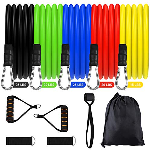 Resistance Bands Set 2020 New 11 Pcs Exercise Workout Bands with Handles for Women Men, 5 Resistance Loop Bands Set with Door Anchor, Carry Bag for Fitness Training Workout Yoga Pilate Stretch